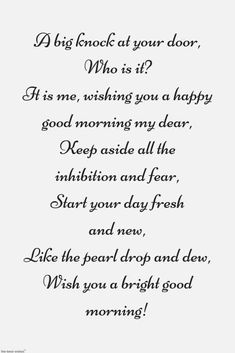 Looking for romantic good morning poems for her to compliments her by a beautiful poem and surprise your girlfriend or wife with this sweet lines. Morning Poem For Her, Good Morning Poems, Morning Quotes, Cute Love Poems, Love Poem For Her, Poems Beautiful, Text Message Quotes, Text Messages Crush, Funny Text Messages