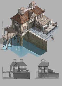 Новости Fantasy Town, Fantasy Castle, Fantasy House, Medieval Fantasy, Medieval Houses, Medieval Town, Environment Concept Art, Environment Design, Bg Design
