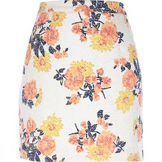 Cream floral print mini skirt #riverisland