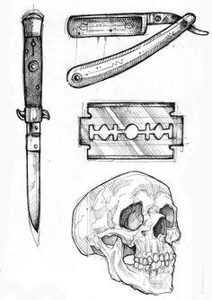 Dark Art Drawings, Tattoo Design Drawings, Art Drawings Sketches, Tattoo Sketches, Drawing Tattoos, Drawing Drawing, Knife Tattoo, Doodle Tattoo, Tattoo Flash Art