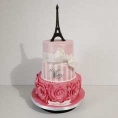 Sweet 16 Paris Themed Cake www.vanillecakess.com