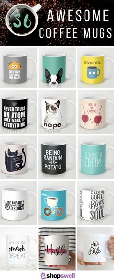 Take your morning beverage up a notch with one of these 36 fun & fab coffee mugs.