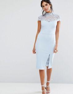 City Goddess | City Goddess Pencil Dress With Lace Yoke