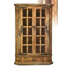 Brilliant Rust-Olive Armoire With Beveled Glass Doors. h1Brilliant Rust-Olive Armoire With Beveled Glass Doors_h1This outstanding corner armoire has a rust finish with olive trim and 20 panes of beveled glass windows on the doors, plus scroll designs hand-painted overall and .. . See More Armoires at http://www.ourgreatshop.com/Armoires-C1067.aspx