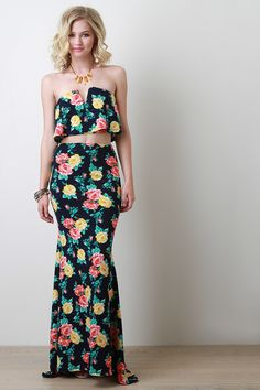 Floral Floral Fit and Flare Skirt
