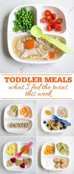 Toddler Meals: What I fed my twins this week. Healthy breakfast, lunch and dinner inspiration for feeding toddlers.