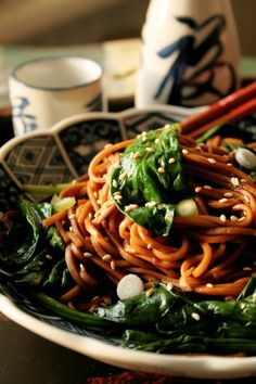 Japanese noodles with spinach and spring onion /Greendelicious