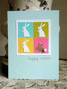 CASED this card from Kristine V.  amuse studio, bunny dies, handmade easter card