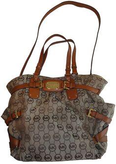 Michael Kors Purse Handbag Gansevoort Large North South Tote Beige/Ebony/Luggage