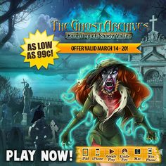 Weekly SALE! The Ghost Archives: Haunting of Shady Valley is up to 80% off! As you approach the abandoned mining town of Shady Valley the first creature you meet is … a huge ghost. Starting today through March 20th, get the spine-chilling hidden object adventure The Ghost Archives: Haunting of Shady Valley for as low as 99¢ on ALL platforms! Dig into the roots of several mysterious disappearances in this remote town and help earthbound souls find peace.  Learn more: http://www.g5e.com/sale