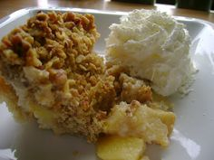 What's Cookin, Chicago?: Apple Cobbler with Crumb Topping. if I can't have Aunt Paula's apple pie, this should work instead! Apple Recipes, Holiday Recipes, Great Recipes, Favorite Recipes, Just Desserts, Delicious Desserts, Yummy Food, Yummy Treats, Apple Cobbler