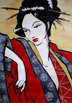Geisha Acrylic Painting Original Painting erotic art by LocoGlam