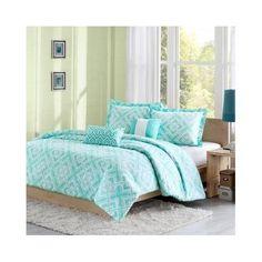 Reversible Teen Kids Girls Teal Comforter Bedding Set