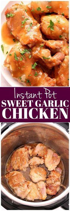 Instant Pot Sweet Garlic Chicken Recipe – juicy chicken thighs in brown sugar garlic sauce, cooked in 7 minutes in the Instant Pot pressure cooker. Quick, easy and so tasty! #InstantPot #chicken #pressurecooker