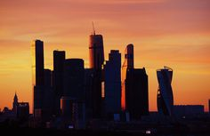 Moscow Wood Print featuring the photograph Moscow City In Sunset by Jenny Rainbow Urban Photography, Fine Art Photography, Street Photography, Sunset Sky, Sunrise, Building Silhouette, Sunset Photos, New Wave, Wood Print