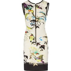 Roberto Cavalli - Ruched Printed Stretch-jersey Mini Dress featuring polyvore women's fashion clothing dresses white print dresses tailored dresses stretch jersey roberto cavalli dresses ruched dress