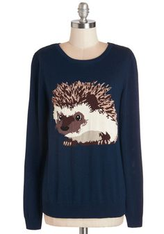 Hedgehogs and Kisses Sweater by Sugarhill Boutique - Blue, Long Sleeve, Critters, Quirky, Blue, Brown, Print with Animals, Casual, Rustic, Long Sleeve, Fall, Winter, Scoop