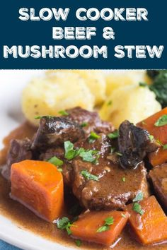 This hearty slow cooker beef and mushroom stew is so quick to put together, and it makes the perfect dinner for a cold winter's evening. Simply add some boiled or mash potatoes and green vegetables on the side for an easy meal without fuss. Healthy Slow Cooker, Crock Pot Slow Cooker, Slow Cooker Recipes, Crockpot Recipes, Cooking Recipes, Freezer Cooking, Slow Cooking, Chili Recipes, Cooking Tips