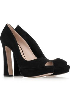 Miu Miu Suede peep-toe pumps - 44% Off Now at THE OUTNET $333