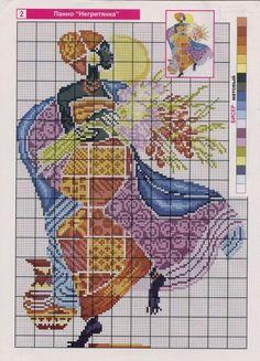 point de croix femme africaine & fleurs - cross stitch african woman with flowers Cross Stitch Charts, Cross Stitch Designs, Cross Stitch Patterns, Cross Stitching, Cross Stitch Embroidery, Embroidery Patterns, Cross Stitch Silhouette, Art Africain, Crafty Craft