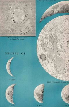 1908 lithograph of the phases of the moon.
