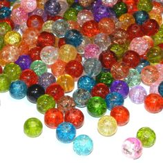 Assorted Mixed Color 8mm Round Crackle Glass Beads 75-grams (115 Beads) 2/7/16  (some for Kay's wine charms)