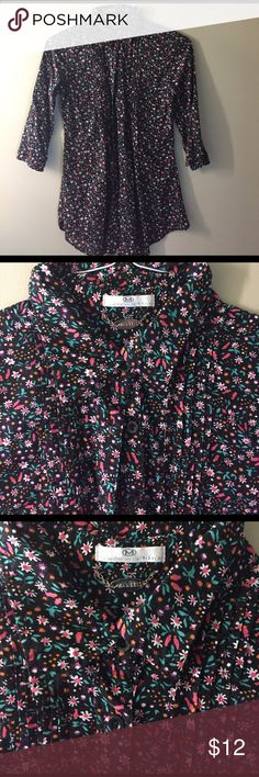 Blouse Very flattering blouse with small colorful floral pattern. Deep rich chocolate color with multi colored flowers. Really cute! Tops Blouses