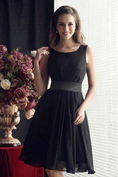 Black Bateau Knee-length Chiffon Short Bridesmaid Dress | LynnBridal.com--I like but in teal