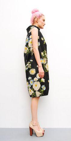 60s Dress - Black Satin Velvet Floral Print
