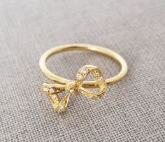 Bow Ring, Pinky gold ring, 18K solid gold midi ring, Bow diamond ring, Delicate diamond ring, Rose gold diamond ring, Gold knot ring, Gift