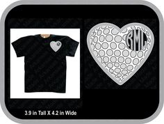 Golf heart monogram custom shirt, shown with round monogram on pocket area of shirt - pinned by pin4etsy.com