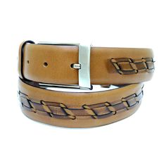 Brown and Beige Adjustable Leather Belt 106 cm (41.73 #handmadeatamazon #nazodesign