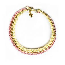 The Curb Chain 2 Rows with clasp old pink straw