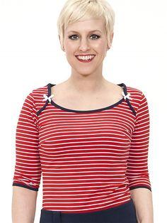 Kiwi Top, red striped