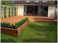 Small Garden Decking Ideas, Small Backyard Patio, Diy Patio, Backyard Patio Designs, Backyard Landscaping, Backyard Ideas, Garden Sitting Areas, Deck Planters, Deck Ideas With Planters