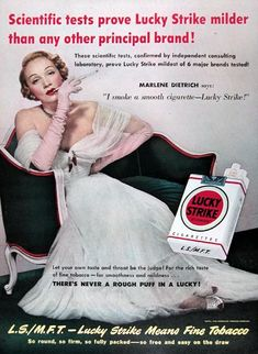"1950 Lucky Strike Cigarettes original vintage advertisement. Features movie star Marlene Dietrich in rare celebrity endorsement. ""I smoke a smooth cigarette - Lucky Strike."""