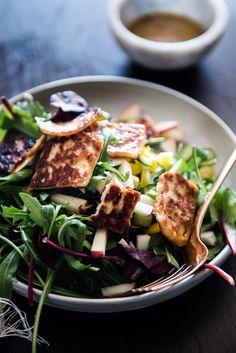 Maple Haloumi Arugula Salad with Dijon Vinaigrette / the kosher spoon