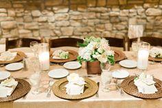 neutral cream wood planter box wedding