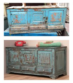 An old blue sideboard before and after we repurposed it