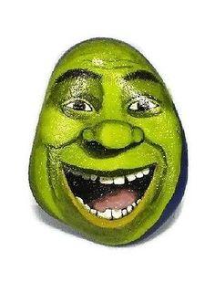 Shrek-ogre-hand-painted-rock-unique-OOAK-happy