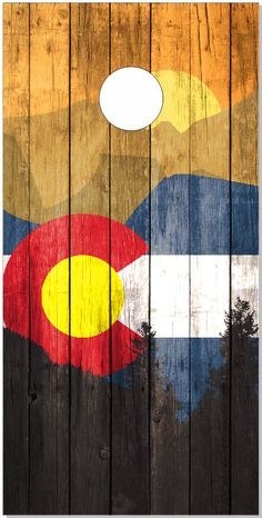 Colorado Flag Mountains Wood Look Cornhole by EMPSignsandDesigns