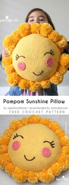 Pompom Sunshine Pillow Free Crochet Pattern #crochetpillow