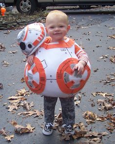 My son's Halloween Costume 2015: BB-8 from Star Wars: The Force Awakens.