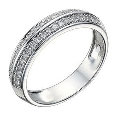 A beautifully crafted 9ct white gold ring, set with two elegant rows of subtly sparkling diamonds for an indulgent feel. A sophisticated choice for a wedding band, or simply glamorous dress ring.
