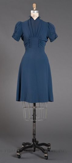 Blue crepe day dress c. 1939. FIDM Museum Blog.