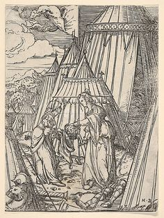 Judith and Her Maid Putting the Head of Holofernes into a Bag Hans Burgkmair (German, Augsburg 1473–1531 Augsburg) Medium: Woodcut Dime...