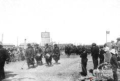 """French troops of the China Relief Expedition """"Boxer Rebellion"""", marching, circa 1900."""