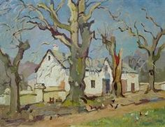 Farmhouse with bare oaks - Gregoire Boonzaier Art Works, Art Painting, Painting, South African Art, Artwork, Van Gogh Art, Artwork Painting, Africa Art, Architecture Painting