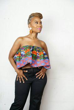 Kabila crop top is a fully lined crop top with ruffle detailing ~ African fashion, Ankara, kitenge, Kente, African prints, Braids, Asoebi, Gele, Nigerian wedding, Ghanaian fashion, African wedding ~DKK