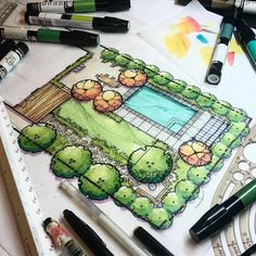 "12.7 mil Me gusta, 31 comentarios - ArchiSketcher (@archisketcher) en Instagram: ""Fantastic illustration by @pangeaexpress The use of markers seem paramount to landscape rendering.…"""